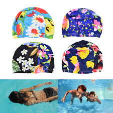 Women Floral Waterproof Spandex Stretch Swimming Cap Bathing Hat  Cq