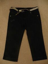 Star by Julien Macdonald blue crop denim trousers with silver belt Age 11.