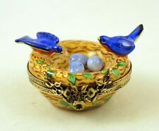 New French Limoges Trinket Box Cute Blue Birds in Floral Nest with Remov. Eggs