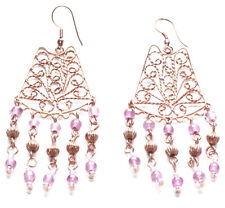 Indian Inspired-ornate Copper Feature & Pink Beads Chandelier Earrings(Zx295)