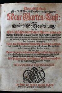 NEUE GARTEN LUST BY HEINRICH HESSE, MAINZ LEIPZIG 1696 OLD GERMAN GARDENING BOOK