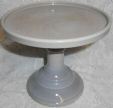 Gray Milk Glass cake serving stand plate platter pedestal raised tray marble art