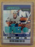 OTTO KOIVULA 2019-20 UD Credentials Debut Ticket Access Rookie RC #/999 NYI