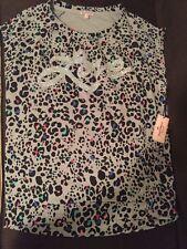 NEU Juicy Couture Damen schwarz-grau Tiermuster Top XS Pullover Baumwollhemd