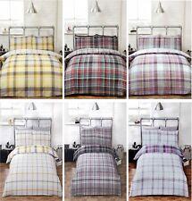 Duvet Cover Bedding Set & Pillowcase Reversible Tartan Check Quilt Cover Checked