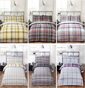 Duvet Cover Bedding Set & Pillowcase Reversible Tartan Check Quilt Cover Checked