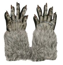 Grey Werewolf Gloves Wolf Halloween Adult Costume Accessory Evil Faux Fur Latex