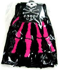 Black with Hot Pink Skeleton Bone Fingerless Gloves-Skeleton Gloves Halloween