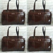 Vintage années 1960 en cuir synthétique marron poignée supérieure Sac à main par Jane Shilton.