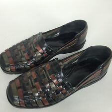Nordstrom Handwoven Slip On Shoes Size 8 Mens Leather Sandal Shoes brown black