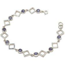 """Iolit Natural Gemstone Handmade 925 Sterling Silver Bracelet 7-8"""" SB-7"""