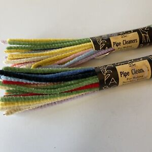 "2 Packs Of Vintage 9"" Pipe Cleaners Pastels Chenille Stems 65 total"