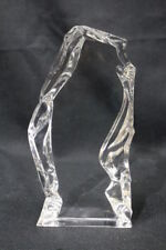"Val St Lambert Crystal Ice Rock BIRD Silhouette 7.75"" Figurine or Paperweight"