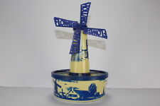 Vintage Windmill Plastic Decorative Painted Transfer Blue Item Made In Holland