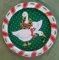 """Vintage Giftco Christmas Winter Tin Tray Green Goose Geese 13"""""""