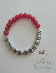 Personalised Phone Number Bracelet RED For Children Or Bears Child Safety Lost