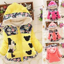 Toddler Kids Baby Girls Clothes Winter Cartoon Minnie Jacket Hooded Coat Outwear