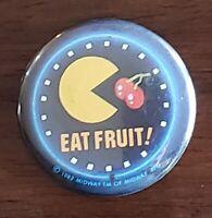 Vintage Pacman Eat Fruit Button Pinback Midway 1982 Video Game
