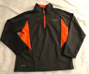 Champion Duo-Dry Youth/Kids S 6/7 Pull Over 1/4 Zip Long Sleeve Gray & Orange