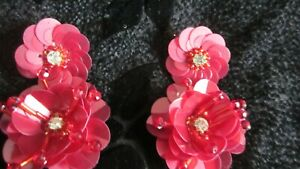 Avon Dangling Red Flower Earrings Festive Double Red with crystal center Holiday