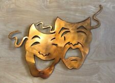 Comedy Tragedy Masks Rustic Copper Patina Finish Metal Wall Art Hanging