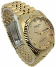 Swanson Japan Watch Men Face Gold Day-Date New