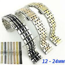 12-24mm 316L Solid Stainless Steel Watch Band Bracelet Strap w Butterfly Buckle