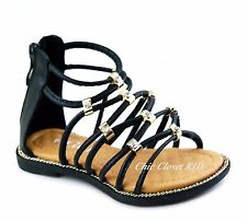 Little Toddler Youth Girls Gladiator Jewel Sandals Ankle Top Strappy Low Heels