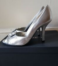 PIED A TERRE SILVER 100% LEATHER PEEP TOE HIGH HILLS SHOES EUR 37 UK 4