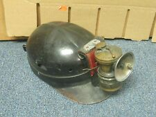 VTG Leather Miner Hard Hat w Auto Light Lamp EX Rare