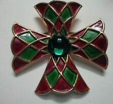 Vintage Weiss Maltese Cross Pin Brooch Green Red Enamel