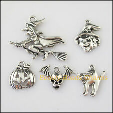 10 New Mixed Lots of Tibetan Silver Tone Halloween Charms Pendants