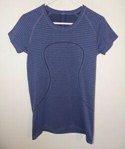 Women's Lululemon Swift Tech Short Sleeve Top Purple Stripes (10)