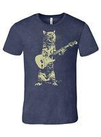 Cat playing guitar, men's heather navy premium quality tee t shirt