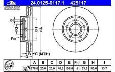 ATE Juego de 2 discos freno Antes 278mm ventilado para FORD FOCUS 24.0125-0117.1