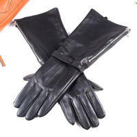 Men's Real Leather Medieval Renaissance Long Cuff  Zipper Gauntlet Long Gloves