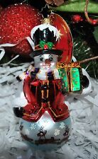 NEW RADKO WINTERLAND GENT Glass Ornament Snowman w /Gift Reindeer
