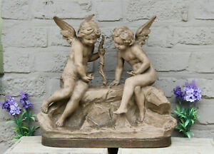 Top XL Antique terra cotta sculpture statue Angels putti playing dices signed