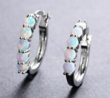 Earrings 9ct White Gold GF Creole Hoops White Fire Opal 17 mm holiday Summer