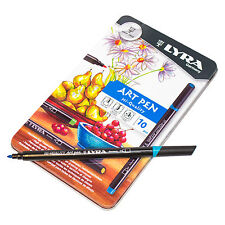 Tin 10 x Lyra Fine Assorted Colour Hi-Quality Art Pens Sketching Artist Felt Tip