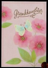 Birthday Butterfly Pink Flowers Leaves - Granddaughter - Birthday Greeting Card