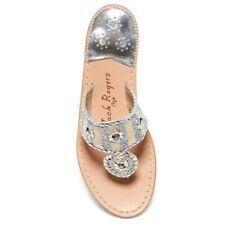 Jack Rogers Sandal Marian Thong Silver New Size 5 Metallic Woman Shoes Flat
