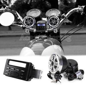 Motorcycle ATV UTV Audio FM Radio MP3 Sound System Stereo Speakers For Harley US