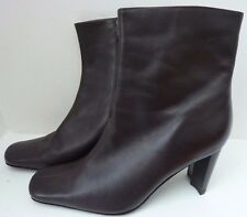 MARKS & SPENCER - Brown Heeled Leather Zip Ankle Boots - £49 - UK 4.5 -  REDUCED