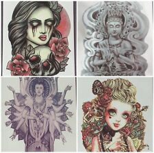 4PC. Large Temporary Tattoos Punk Buddhist Skull Rose Multi-Color Trendy NEW