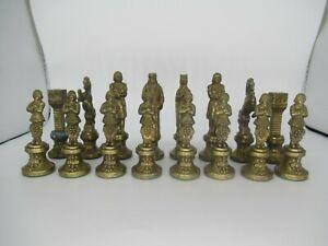 Medieval Brass Chess Piece Set (1920s)