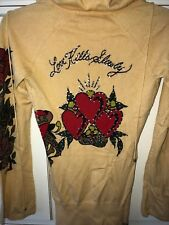 WOMEN'S ED HARDY VINTAGE SWEATER PULLOVER W/ LOGO, GOLDEN YELLOW SIZE XS