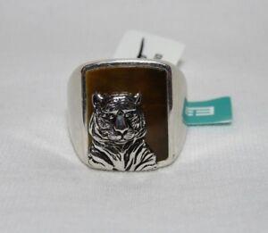 EFFY Men's Tiger's Eye Sterling Silver Panther Cat Signet Ring Sz 10