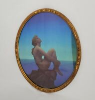 Vintage Ornate Wood Framed  Art Deco Nude Woman Print Picture