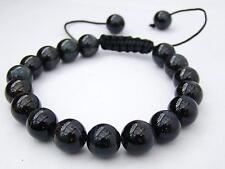 Men's Shamballa bracelet all 10mm Natural Black Obsidian beads